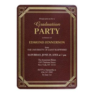 Elegant Formal Burgundy Gold Graduation Party Invitation