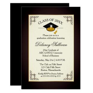 Elegant Formal Gold College Graduation Party Invitation