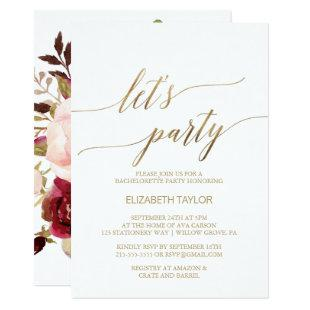 Elegant Gold Calligraphy | Floral Back Let's Party Invitation