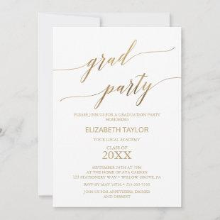 Elegant Gold Calligraphy Graduation Party Invitation