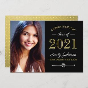 Elegant Gold Class of 2021 Custom Photo Graduation Announcement