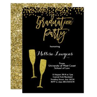 Elegant Gold Confetti Graduation Party Invitation