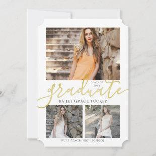 Elegant Gold Graduate 4-Photo Collage Graduation Announcement