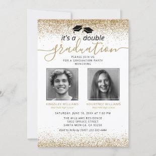 Elegant Gold Joint Graduation Photo Invitation