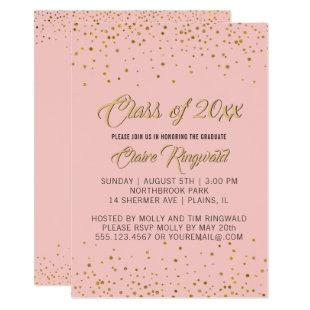 Elegant Gold Pink Graduation Party Invitation