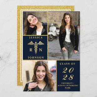 Elegant Golden 3 PHOTO Nursing Graduation Party Invitation