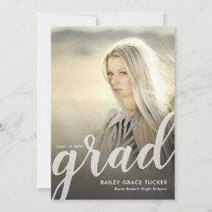 Elegant Grad Script Black Overlay Photo Graduation Announcement
