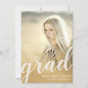 Elegant Grad Script Gold Overlay Photo Graduation Announcement