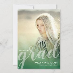 Elegant Grad Script Green Overlay Photo Graduation Announcement