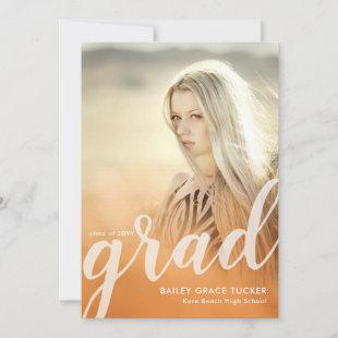 Elegant Grad Script Peach Overlay Photo Graduation Announcement