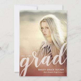 Elegant Grad Script Red Overlay Photo Graduation Announcement