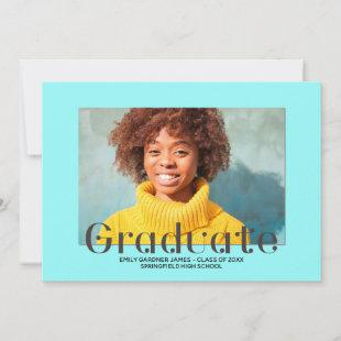 Elegant Graduate Lettering Blue Photo Announcement