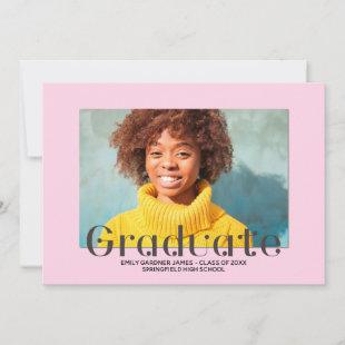 Elegant Graduate Lettering Pink Photo Announcement