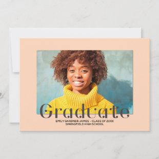 Elegant Graduate Peach Photo Announcement
