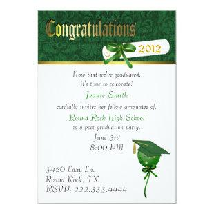 Elegant Green Graduation Party Invitation