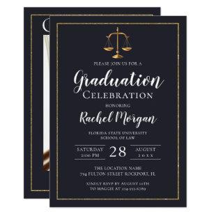 Elegant Law School Gold Justice Graduation Photo Invitation