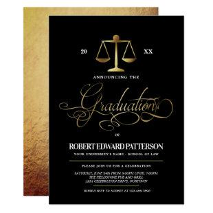 Elegant Law School Graduation Party Invitations