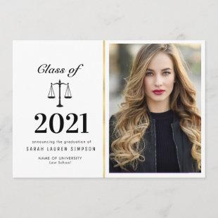 Elegant law school graduation photo announcement
