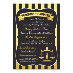 Elegant Law School Graduation Summons Invitation