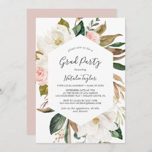 Elegant Magnolia White and Blush Graduation Party Invitation