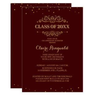 Elegant Maroon Gold Class of 2018 Graduation Party Invitation