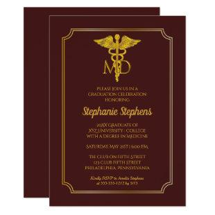 Elegant Maroon Gold MD Physician Graduation Party Invitation