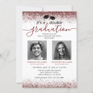 Elegant Marsala Red Joint Graduation Photo Invitation