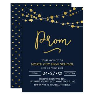 Elegant Modern Blue Strings of Lights School Prom Invitation