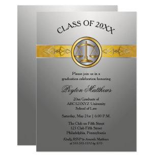 Elegant Modern Silver Law School Graduation Invitation