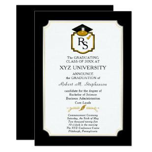 Elegant Monogram College Graduation Announcement