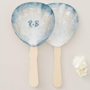 Elegant Monogram Watercolor Seashell Rustic Beach Hand Fan
