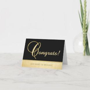 Elegant Name Personalized Black Gold CONGRATS! Card