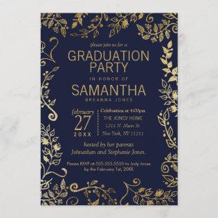 Elegant Navy Blue and Gold Floral Graduation Invitation