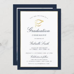 Elegant navy & graduation ceremony invitation