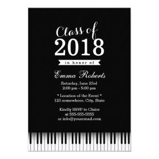 Elegant Piano Keys Music School Graduation Party Invitation