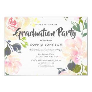 Elegant Pink Rose Graduation Party Invite
