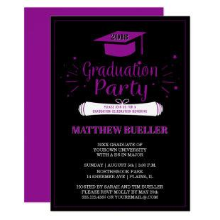 Elegant Purple 2018 Grad Cap Graduation Party Invitation