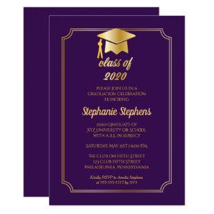 Elegant Purple | Gold Cap College Graduation Party Invitation