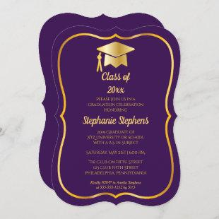 Elegant Purple | Gold Cap Graduation Party Invitation