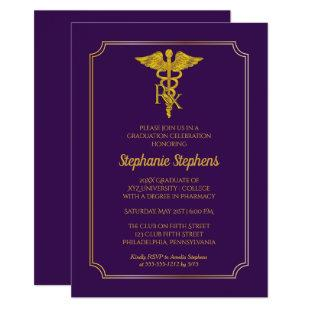 Elegant Purple | Gold Rx Pharmacy Graduation Party Invitation