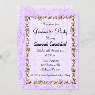 Elegant Purple Graduation Party Invitation