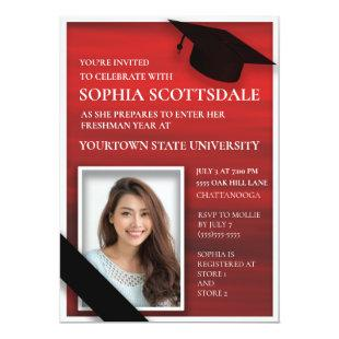 Elegant Red Black White College Trunk Party Photo Invitation