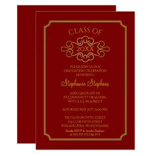 Elegant Red | Gold College Graduation Party Invitation