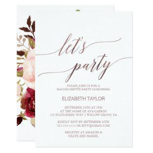 Elegant Rose Gold | Floral Back Let's Party Invitation