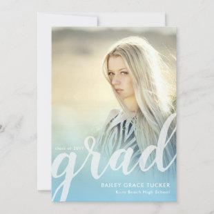 Elegant Script Light Blue Overlay Photo Graduation Announcement