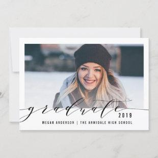 Elegant script photo graduation announcement