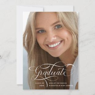 Elegant Script | Two Photo Graduation Announcement