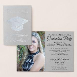 Elegant Silver Foil Graduation Party Invitation