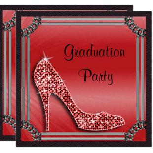 Elegant Silver Framed Red Stiletto Graduation Invitation