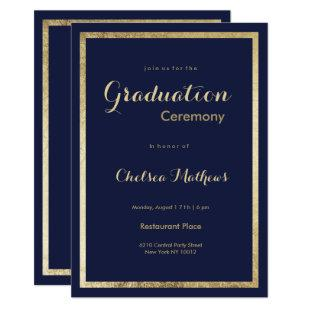 Elegant stylish navy blue faux gold Graduation Invitation